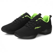 Black Net & Green Cushion Dance Sneaker DS669102