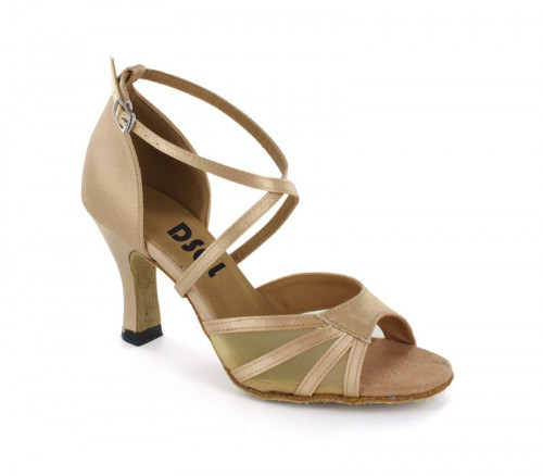 Light Tan satin with flesh mesh Sandal  LS160107