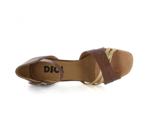 Brown & Gold Patent Leather Sandal  LS160201