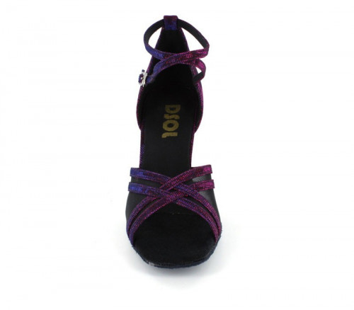 Purple Sparkle & Black Mesh Sandal  LS160307