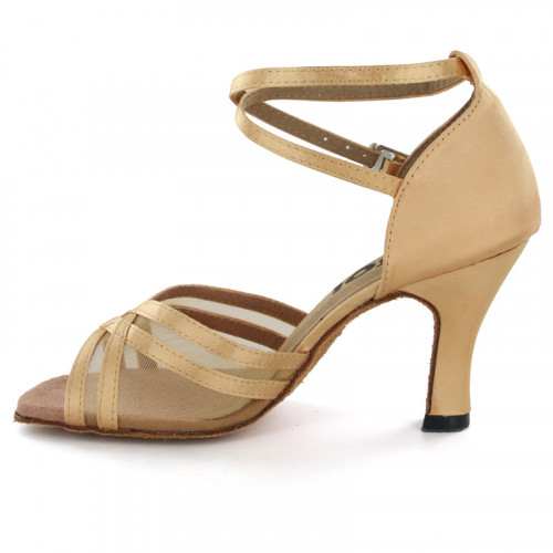 Tan satin with Tan mesh Sandal  LS160313