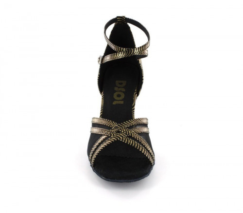 Black / Gold Patent Leather & Mesh Sandal  LS160320