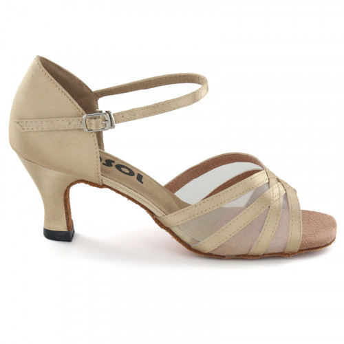Light Tan satin with flesh mesh Sandal  LS160501