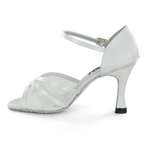 White Satin with Mesh Sandal  LS160502