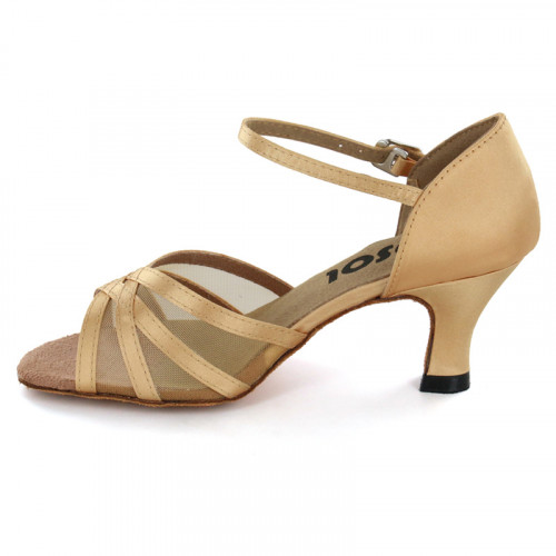 Tan satin with Tan mesh Sandal  LS160509