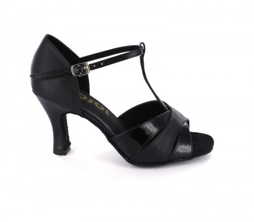 Black Leather With Patent Glitter Sandal  LS160801