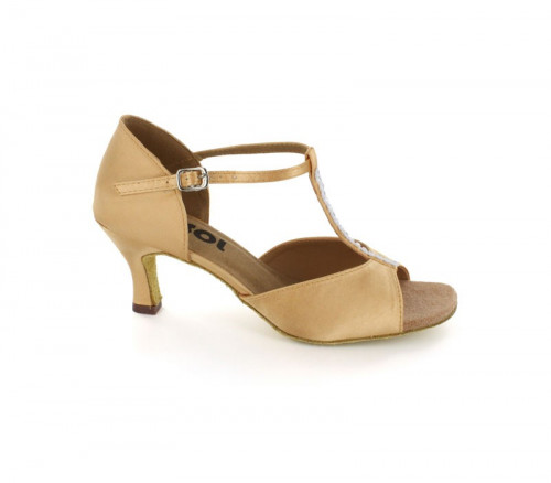 Tan Satin with Rhinestones Sandal  LS160907-1