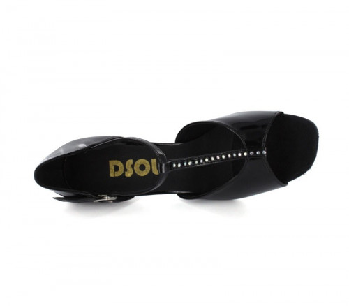 Black patent with rhinestones on the t-strap Sandal  LS160915