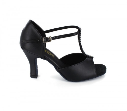 Black Leather with rhinestones on the t-strap Sandal  LS160919
