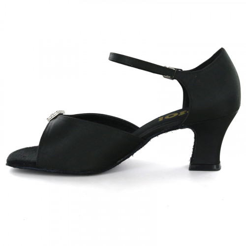 Black Satin Sandal with Width-Adjusted Buckle LS161401