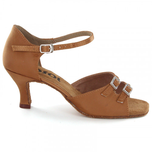 Bronze Satin Sandal with Width-Adjusted Buckle LS161907-1