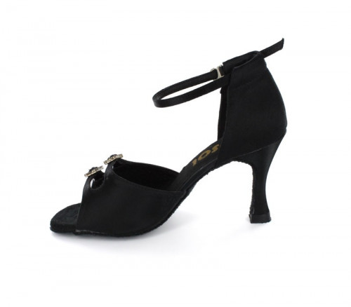 Black Satin Sandal with Width-Adjusted Buckle LS162001-1