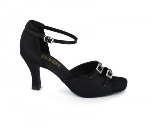 Black Satin Sandal  with Width-Adjusted Buckle LS162001
