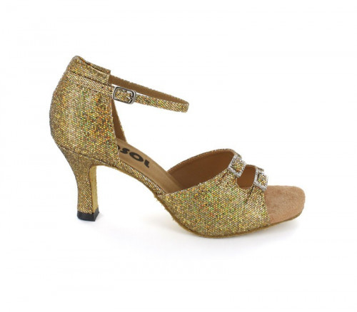 Gold Sparkle Sandal with Width-Adjusted Buckle LS162008