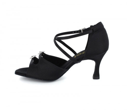 Black Satin Sandal with Width-Adjusted Buckle LS 162502