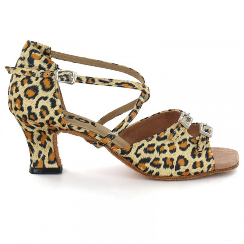 Leopard Satin Sandal with Width-Adjusted Buckle LS162504