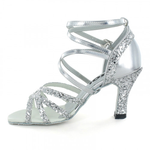 Silver Patent Leather & Sparkle Satin Sandal  LS162702