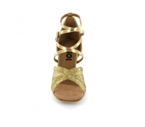 Gold Sparkle Patent with Flesh Mesh Sandal  LS162715