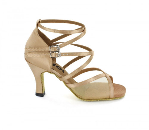 Light Tan satin with flesh mesh Sandal  LS163001