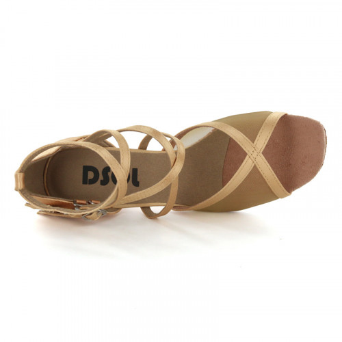 Tan satin with flesh mesh Sandal  LS163004