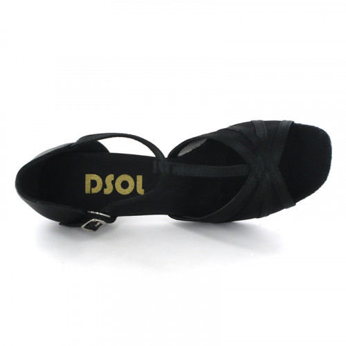 Black Satin with Mesh Sandal  LS163502
