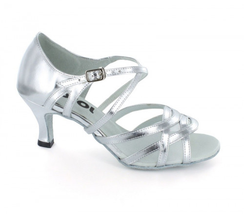 Silver Patent Leather & White Mesh Sandal  LS165705
