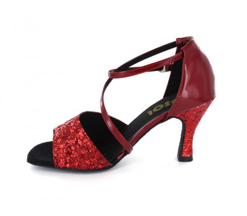 Red Sparkle & Patent Sandal  LS165909