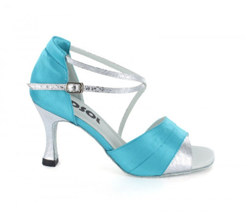 Blue Satin with Silver PU Sandal  LS165919