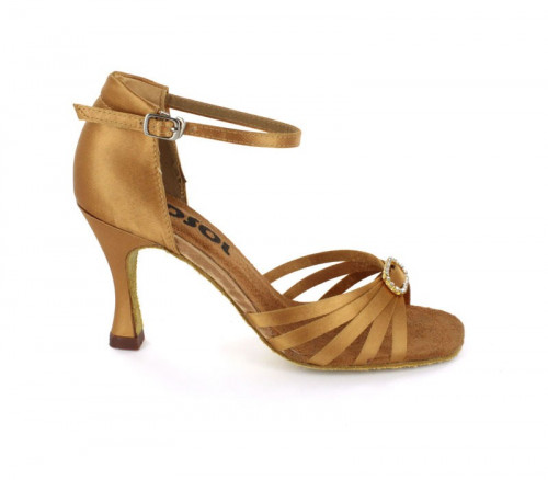 Bronze Satin Sandal  with Width-Adjusted Buckle LS166703-1