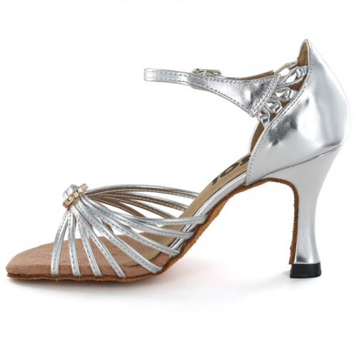 Silver Patent Sandal with Width-Adjusted Buckle LS167106