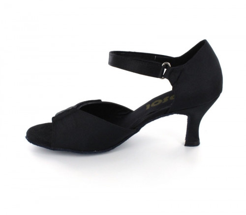 Black satin with velcro design on the front Sandal  LS167801