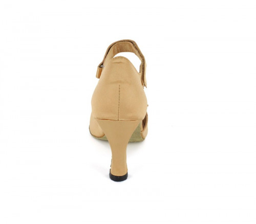 Tan Satin with velcro design on the front Sandal  LS167803