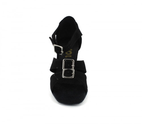 Black Nubuck Sandal  with Width-Adjusted Buckle LS167901