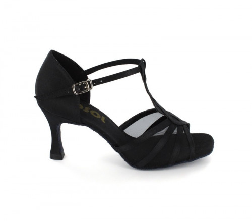 Black satin with mesh Sandal  LS169205