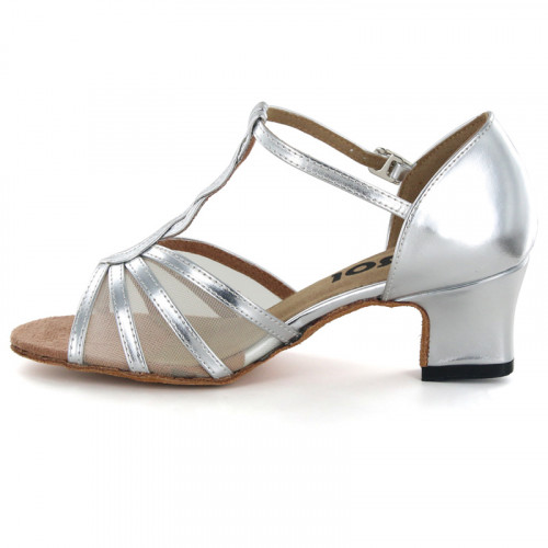 Sliver patent leather with flesh mesh Sandal  LS169206
