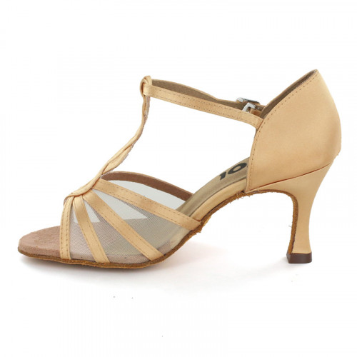 Brown satin with flesh mesh Sandal  LS169207