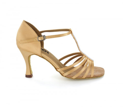Tan Satin & rhinestones on the strap Sandal  LS169301