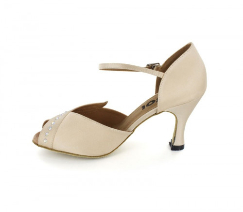 Beige Satin & Rhinestones Close-toe  LS170402