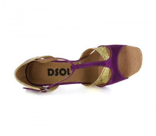 Purple Satin with Gold glitters Sandal  LS170701