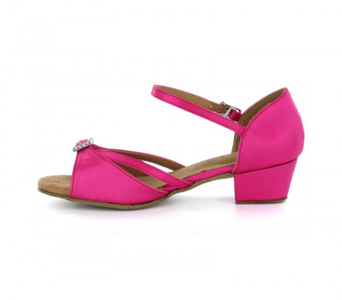 Hot Pink Satin Sandal with Width-Adjusted Buckle LS172006