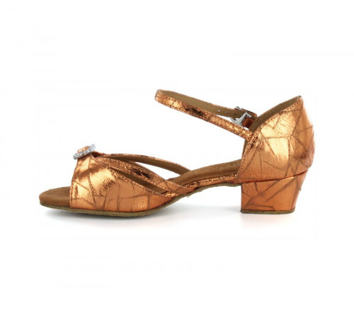 Brown Patent Leather Sandal with Width-Adjusted Buckle LS172007
