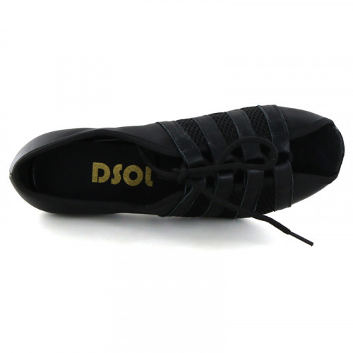 Black leather & net with suede sole Sandal  LS172501