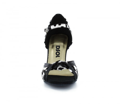 Black & white satin with Suede sole Sandal  LS172608