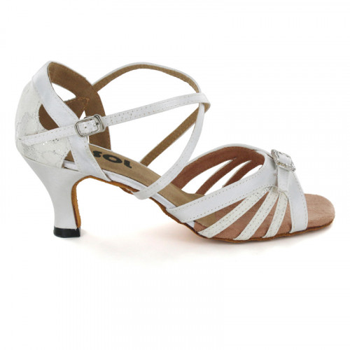 White Satin & Sparkle Sandal with Width-Adjusted Buckle LS172805
