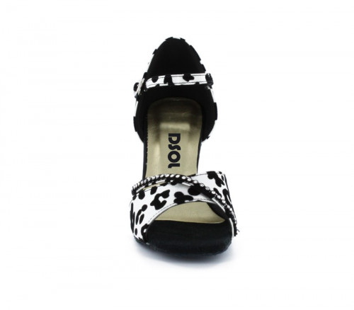 Black & white satinwith Suede sole Sandal  LS172902