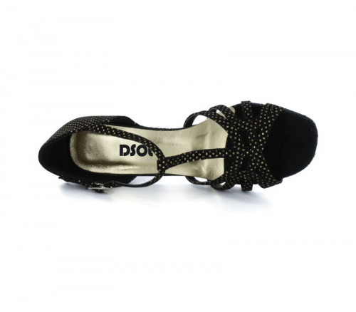 Black velvet & gold dots with suede sole Sandal  dc_LS173503