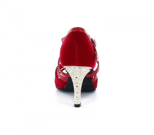 Red velvet & red leather with suede sole Sandal  LS173703