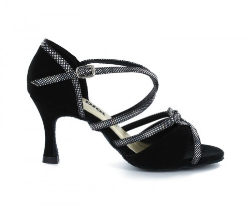 Black velvet with suede sole Sandal  LS173704