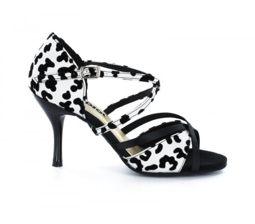 Black & white satin with Suede sole Sandal  LS174001