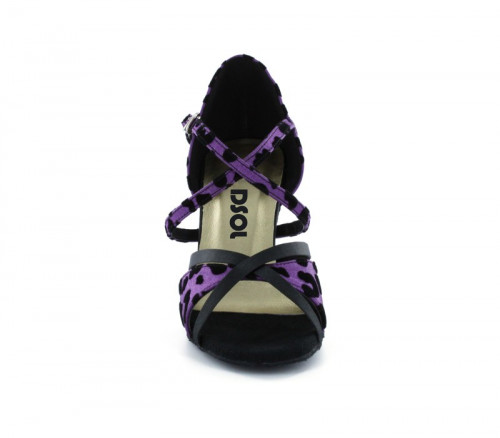 Black & purple satin with Suede sole Sandal  LS174002
